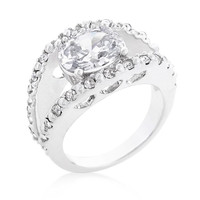 Clear Split Band Engagement Ring, size : 08
