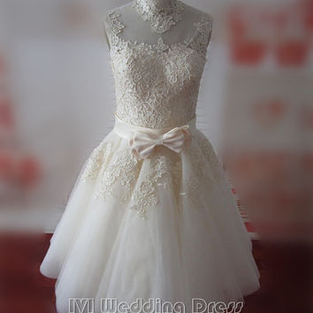 Real Photos Handmade Ivory Short Women Dress with Lace High Collar Sleeveless Party Dress Homecoming Dress