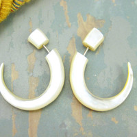 Fake Gauges Earrings Mother pearl Hook Tribal Earrings - FG008 AS