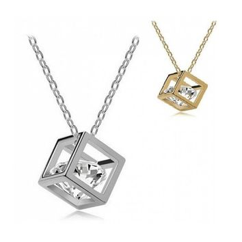Diamond in Cube Necklace (in Gold & Silver)
