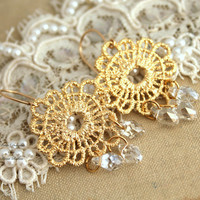 Bridal chandelier earrings gold clear ice white Swarovski crystals, bridesmaids gifts - Gold lace doily crochet wedding jewelry.