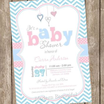 Baby blue and pink baby shower invitation, chevron invitation, baby shower invitation, hearts, typography, printable invitation