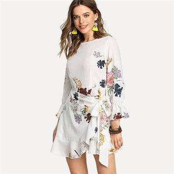 Women Flower Print Round Neck 3/4 Sleeve High Waist Dress 2018 Loose Short Dress