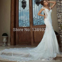 2015 New Fashion Mermaid Bride Gowns Appliques Chapel Train Cap Sleeves Tulle exquisite 2015 Wedding Dresses