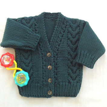 Age 6 to 12 months Irish knit baby cardigan, Toddler green sweater, Baby jumper