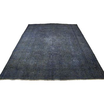 9x12 Distressed Vintage Tabriz Rug Low Pile Denim Blue 100% Wool 2904