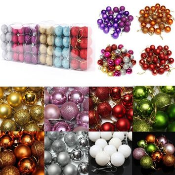 New Arrive 3cm 24pcs /set 11Colors Christmas Ball Tree Decoration Diameter Xmas Balls Decorations Gift Hanging Ornament