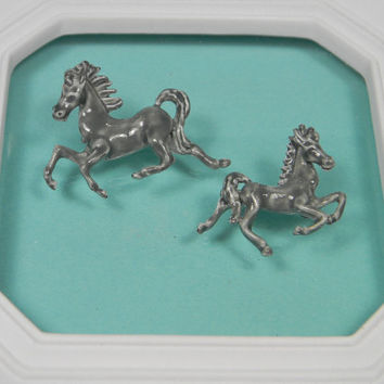 Pair of Horse Brooches or Pins, Pale Grey Enamel, Vintage Figurals