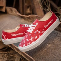 Best Online Sale LV x Supreme x Vans Customise Authentic  Red White Casual Shoes Skateboard Shoes GL-02