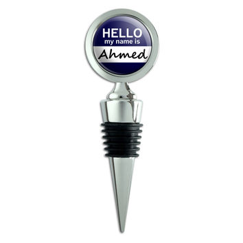 Ahmed Hello My Name Is Wine Bottle Stopper