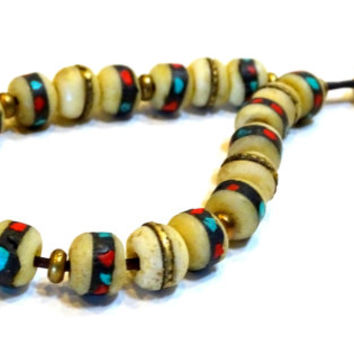 Komboloi, Greek, Turkish worry beads, Tibetan mala beads inlaid with turquoise, coral, bone and brass, meditation beads,prayer beads