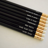Set of 8 Engraved Pencils with Random Messages/Quotes - Black Pencils