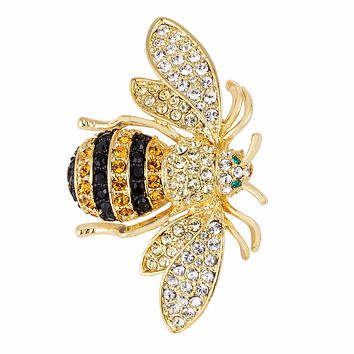 Macey 18k Golden Bumble Bee Crystal Brooch