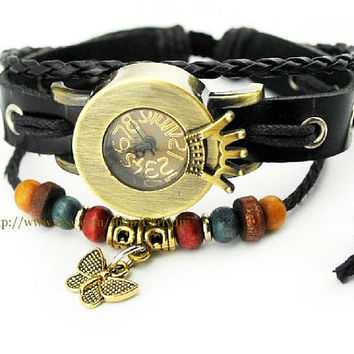 Crown butterfly pendant watch - vintage cowhide - students, youth wrist watches
