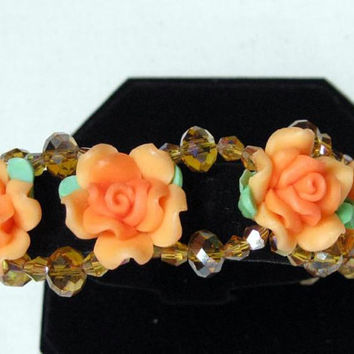 Fimo Rose Bracelet Orange Yellow Amber Pink shimmering Aurora Borealis Crystal Beads, Magnetic Clasp Bracelet, Mothers Day
