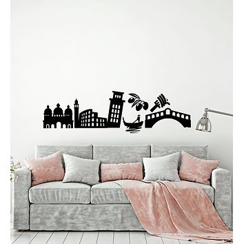 Vinyl Wall Decal Italy Country Attractions Sights Traveling Stickers (3459ig)
