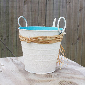 Shabby Chic Key West Beach Style Starfish Wedding Pail