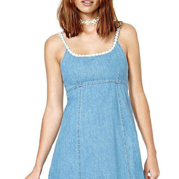 Blue Daisy Embroidered Denim Strappy Dress