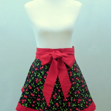 Cherries Apron, Half, Women,  Fruit, Black, Red, Polka Dots, Full Retro Skirt, Lined, Hostess,Shower, Birthday, Holiday Gift for Her