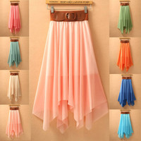 Irregular Bohemia Chiffon Beach Skirts for Summer