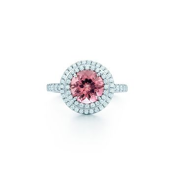 Tiffany & Co. -  Tiffany Soleste® ring in platinum with a .70-carat pink tourmaline and diamonds.