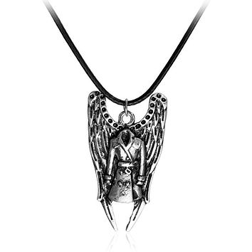 Supernatural Angel Castiel Trenchcoat Vintage Rope Leather Necklace New Arrival Classic Women And Men Statement Necklace Gifts