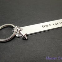 Fitness Motivation Keychain, Fight for It with Small Dumbbell Charm, Hand Stamped Aluminum Key Chain