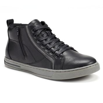 Rock & Republic Men's Side-Zip High-Top Sneakers (Black)