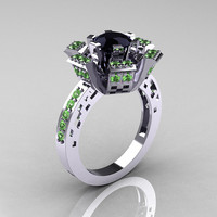 Modern French 10K White Gold Black Diamond Green by artmasters