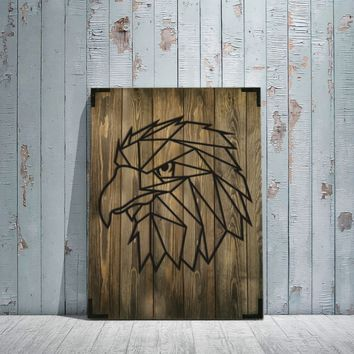 Eagle Face Wooden Wall Art