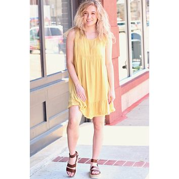 Golden Ruffle + Frayed Hem Sleeveless Dress
