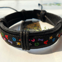 Graduation Gift Cute Kawaii Cartoon Pattern Print Cool Black Leather Cuff Fashion Bracelet C-38