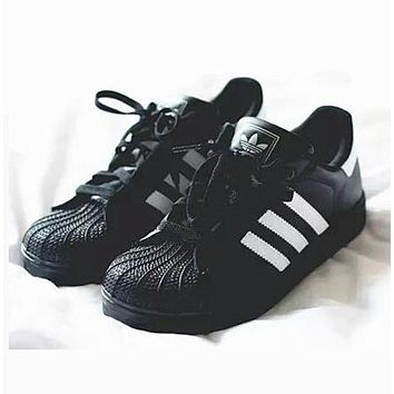 """Adidas"" Fashion Shell-toe Flats Sneakers Sport Shoes Black white line white F"