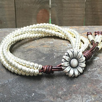Beaded Leather Wrap Bracelet/ Silver Seed Bead Wrap Bracelet/ Leather Bracelet/ Gift For Her/ Bohemian Bracelet/ Boho Wrap Bracelet.