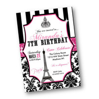 Paris Birthday Invitation pink and black bling damask stripes eiffel tower chandelier printed or printable 5x7 invite for birthday any age