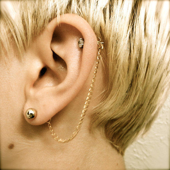 Cartilage Chain on Earring Backs  Gold by PrettyKittenBoutique