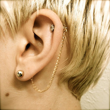 Cartilage Chain on Earring Backs - Gold
