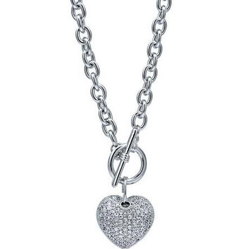 Silver Tone Puffed Heart Necklace