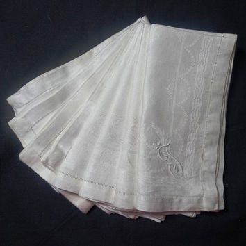 Set of 8 Vintage Linen Damask White Dinner Napkins with Hand Embroidered Monogram J, Size 19 x 19 Inches