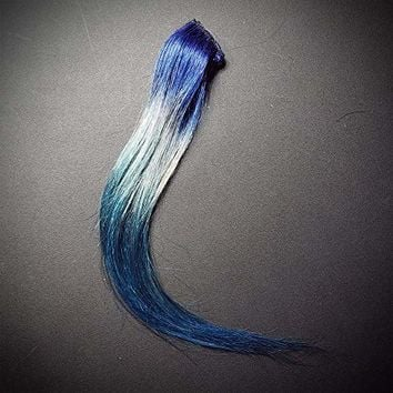 "12"" 30cm Blue Silver Aqua Teal Ombre Clip In Galaxy Mermaid Remy Human Hair Extensions"
