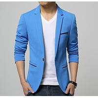 Mens Korean slim fit fashion cotton blazer Suit Jacket black blue beige plus size M to 6XL Male blazers Mens coat Wedding dress