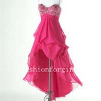 2013 Charming Sweetheart A - line Empire Sweetheart Sleeveless Asymmetrical Chiffon Prom Dresses from fashionforgirls