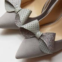 Grey bow - shoe clips, sparkly glitter and leather, shoe accessories, wedding shoe