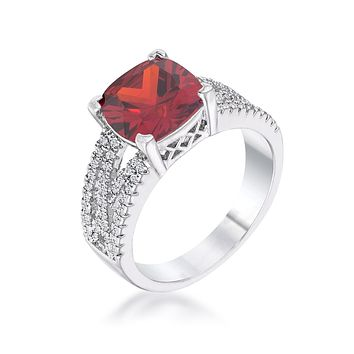 WildKlass 3Ct Elegant Rhodium Plated Criss-Cross Garnet CZ Engagement Ring