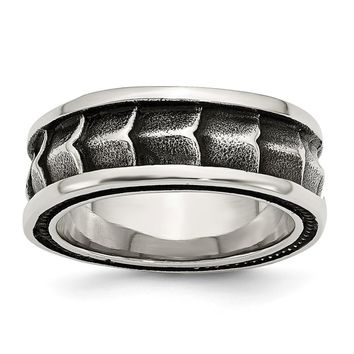 Men's Stainless Steel Polished and Antiqued Wedding Band Ring