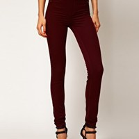 River Island Oxblood Denim Molly Jeggings at asos.com