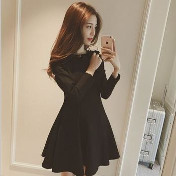 Womens Retro Long Sleeve A-line Flared Dress Office Lady Cute Formal Elegant Ruffles Strip Mesh Patches Basic Vestidos E653