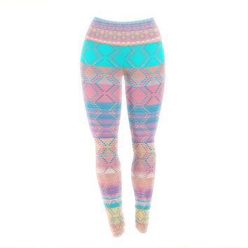 "Nina May ""Denin & Diam New Mexico"" Pastel Yoga Leggings"
