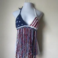 AMERICAN FLAG FRINGE top,  patriot fringe top, 4th of July, stars and stripes fringe top, festival clothing,hippie festival top, Burningman