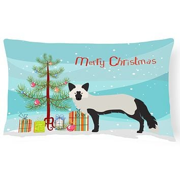 Silver Fox Christmas Canvas Fabric Decorative Pillow BB9238PW1216